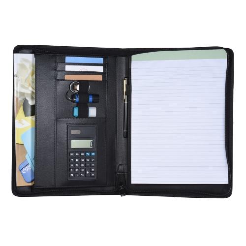 Multifuncional Portfolio de Negócios Profissionais Pasta Padfolio Document Case Organizer A4 PU Leather fechado com zíper com calculadora titular do cartão Memo Note Writing Pad