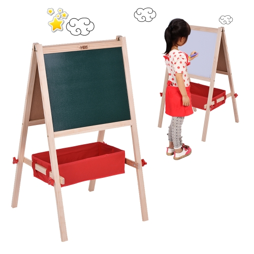 Kids Wooden Art Easel Chalkboard White Drawing Board Dual Sided Magnetic  Education Board With Magnetic
