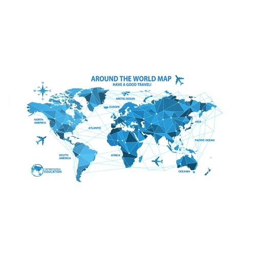 Niebieska mapa świata Naklejka na ścianę z PCV Kalkomania z motywem dziecięcym dla dzieci / Przedszkole / Sala szkolna / Pokój zabaw / Pokój dzienny / Biuro