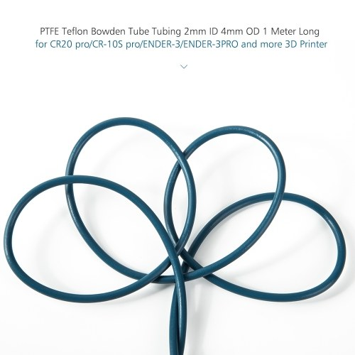Creality 3D PTFE Teflon Bowden Tube Tubing 2mm ID 4mm OD 1 Metri lungo per CR20 pro / CR-10S pro / ENDER-3 / ENDER-3PRO 3D Printer 1.75mm Filamento