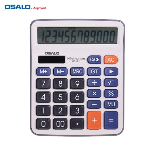 OSALO Desktop Electronic Calculator Standard Function Basic Counter with 12-Digits Large LCD Display Big Buttons Dual Power Solar & Battery Powered for Home Office Business School