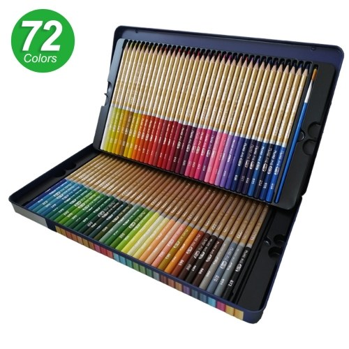 72 Colored Pencils Set Water-soluble Watercolor Pencils   3.3mm Thick Core Blendable Pencils with Brush Metal Storage Case Art Supplies