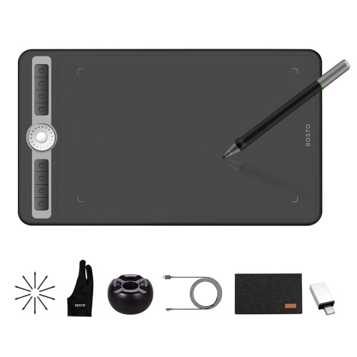 BOSTO T1060 10 x 6 Inch Digital Art Graphic Drawing Tablet with Battery-free Stylus 10 Pen Nibs 8192 Levels Pressure 8 Express Keys Dial Controller