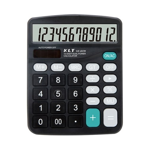 Настольный электронный калькулятор 12-разрядный большой ЖК-дисплей Калькулятор стандартных функций Солнечная батарея и батарея Двойное энергопотребление Инструмент для базового офиса Бизнес-школа Дом
