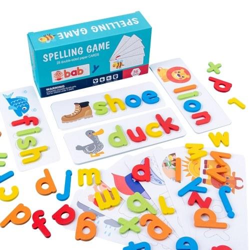 Jogo de palavras de soletração de madeira Cartão de reconhecimento de letras Enigma Montessori STEM Brinquedo educacional inicial para maiores de 3 anos de idade para meninos e meninas