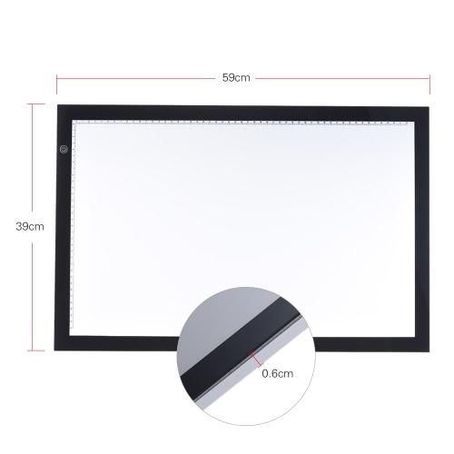 A2 LED luz desenho da caixa traçando traçador copiar placa tabela almofada painel retrovisor com função de memória Stepless controle de brilho para artista animação tatuagem esboçar arquitetura calligraphy stenciling