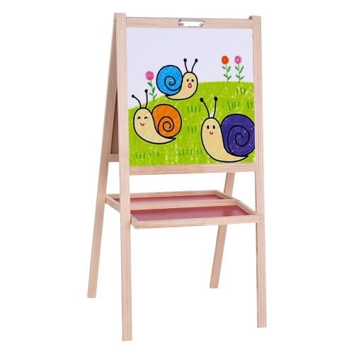 Aibecy Folding Kids Arte de madeira Cavalete Chalkboard White Drawing Board Placa de educação magnética de dupla face com bandeja de armazenamento