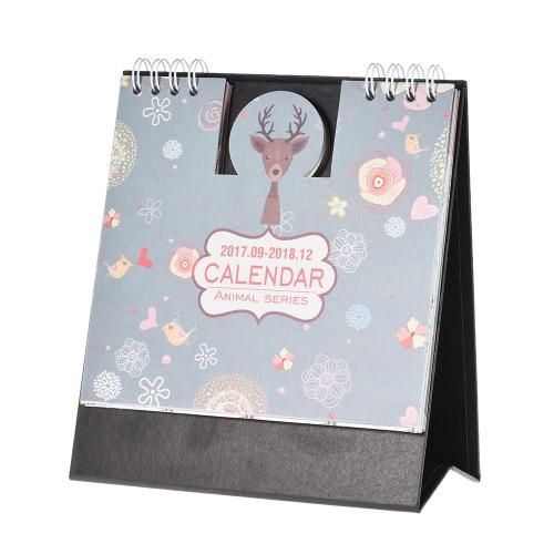 Cartoon Animali Tabella Calendario Mini Desk Planner con supporto 2017.9 ~ 2018.12 Office School Supplies