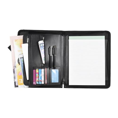 Zippered Multifunctional A4 Portfolio Profesjonalny Organizator plików Padfolio z Kieszeniami do Pisania Kieszonki na Kieszonki dla menedżerów Businessmen Sales Students