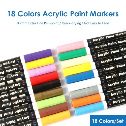 H&B 18 Colors Acrylic Paint Markers Pens 0.7mm Extra-fine Tip Water Based Paint Pen Painting Art Supplies