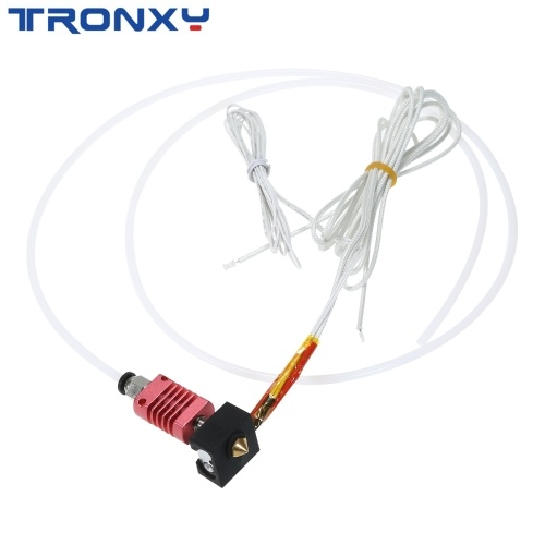 Tronxy 3D Upgrade Parts Assembled MK10 Extruder Hotend Kit with Aluminum Heating Block 0.4mm Nozzle 100K Ohm Thermistor PTFE Tube 24V 50W Compatible with X5SA/X5SAPRO/XY-2PRO 3D Printer