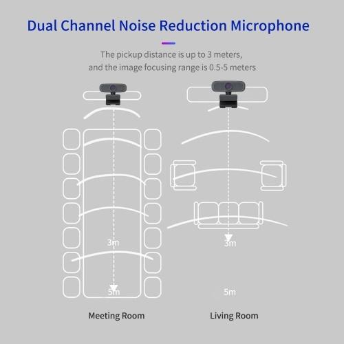 1080P HD Streaming Webcam USB Computer Video Camera 2 Megapixels 80° Wide Viewing Manual Focus