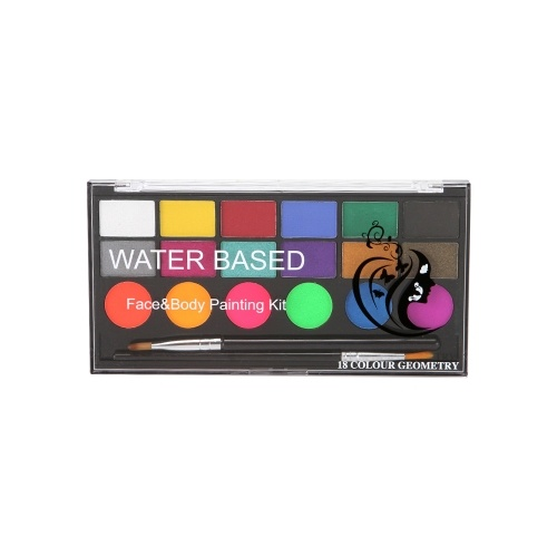 Kit di pittura per il corpo a 18 colori 6 colori normali e 6 colori perlati e 6 colori UV con 2 pennelli