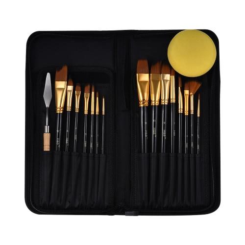 Kit de pincel de artista profissional, incluindo 15pcs Nylon Hair Short Handle Aquarela Acrílico Gouache Pincéis de pintura a óleo com paleta Ferramenta Pop-up Stand Zippered Bag
