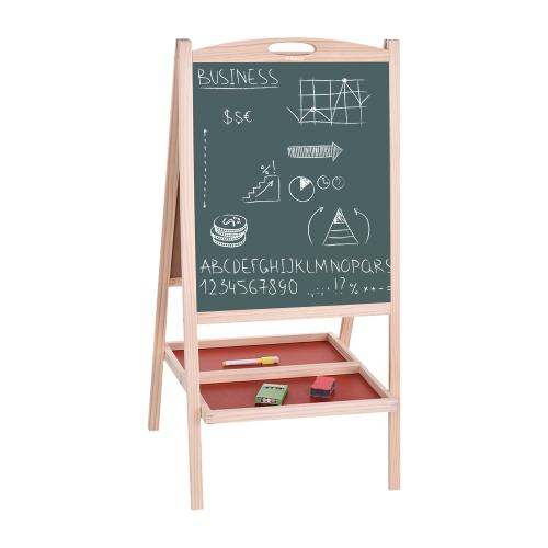 Aibecy Folding Kids Arte de madeira Mesa de armação Mesa de desenho branco Placa de educação magnética de dupla face com alça Marker Pen Chalks Blackboard Eraser