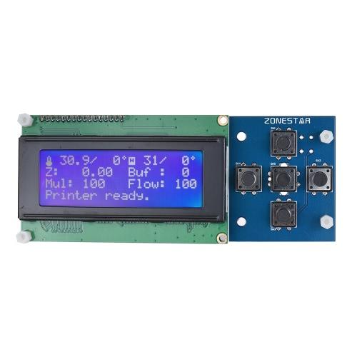 ZONESTAR 2004 LCD Smart Screen Screen 5 Teclado ZRIB Board Controller Module Múltiplos idiomas com cabo para RepRap Mendel Prusa i3 Impressora 3D para P802Q P802N D807A