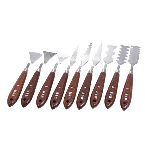 9pcs Palette Messer Malerei Mischen Schaber Spatel Kunst Werkzeuge Set für Ölmalerei Spezialeffekte Künstler