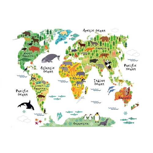 Wall Sticker Large Colorful World Map Sticker Educational Kids - Colorful world map