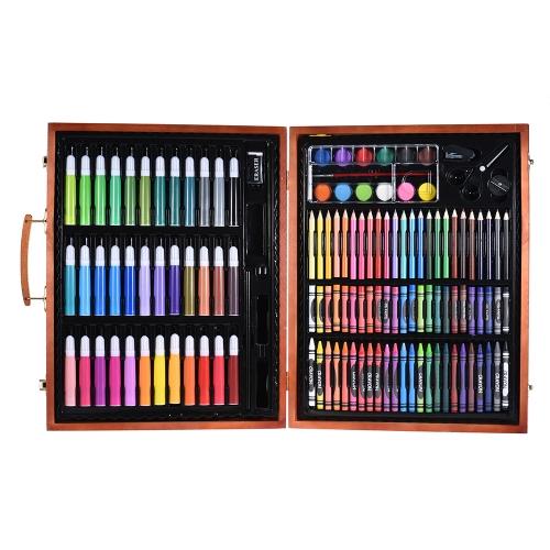 Conjunto de arte de luxo 148pcs para crianças com caixa de madeira Marcadores de cores Lápis Pastéis Pastels de óleo Tintas de aquarela