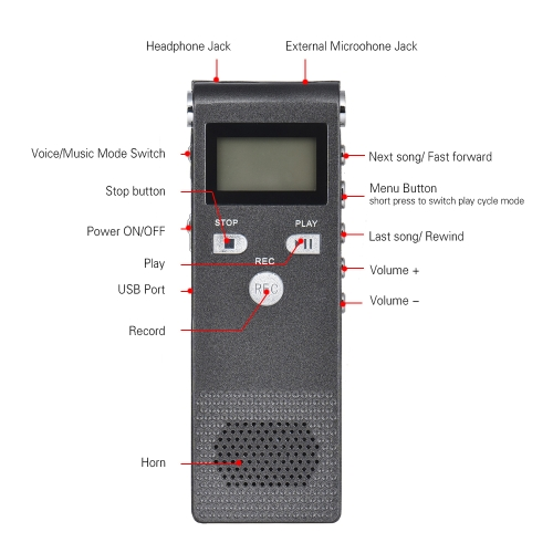 Professional Voice Audio Telephone Recorder Dictaphone 8GB MP3 Music Player Sound Active 384Kbps Sup