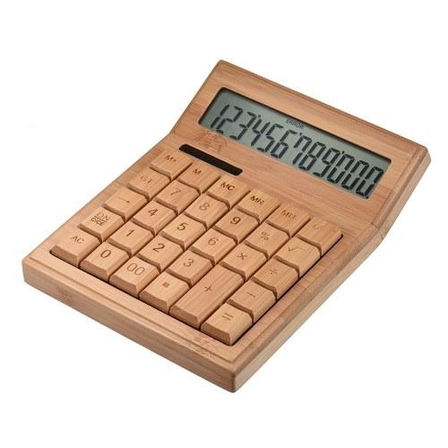 Calcolatrice elettronica di bambù multifunzionale da 12 cifre Solar & Battery Dual Powered per il negozio al dettaglio della scuola di casa