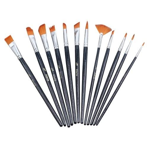 12pcs différentes tailles de pinceaux mis en nylon cheveux manche en bois artiste professionnel pinceau