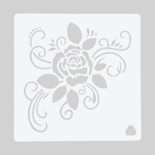 Modelo de flor rosa de estêncil de decoração de bolo de 1 peça