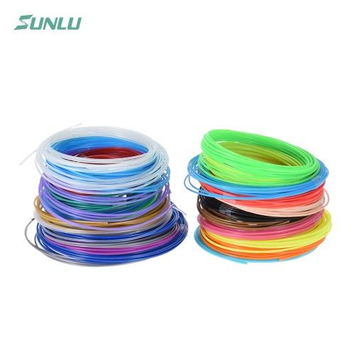 Sunlu SL-BH005 20pcs por 5m / 16,4 pés total 100m / 328,1 pé PLA Pen Impressão 3D Printer Filament Refill 1,75 milímetros de diâmetro, incluindo 4 cores luminated (20 cores sortidas, entrega Random)