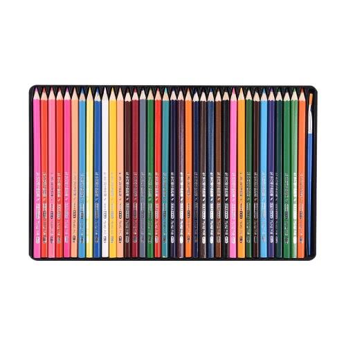 36 de cor Premium Pré-Sharpened solúveis em água Lápis Água jogo colorido com caixa de metal Escova para adultos dos miúdos Artista Desenho Art Esboços escrita arte Livros de Colorir