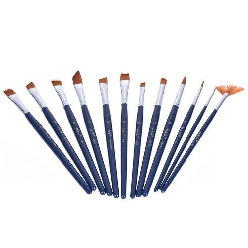 Kit de pincel de artista profissional, incluindo 12pcs cabelo de nylon, manípulo curto, aquarela, acrílico, gouache, pintura a óleo, escovas, com paleta de cores, saco com zíper