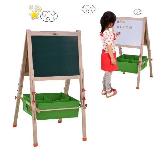 Regulowana tablica szkolna dla dzieci Sztuka drewniana Sztaluga Biała tablica do rysowania z magazynem Litery magnetyczne Pisaki kredowe Pastele olejne Tablica gumowa