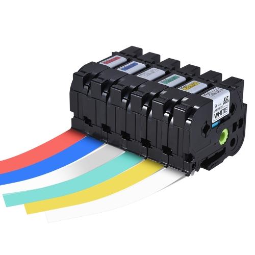Ламинированная лента для этикеток Black on Red Совместимость для Brother P-touch Label Printer PT-1010 / PT-2100 / PT-18R / PT-E200 / PT-9500 9 мм * 8 м
