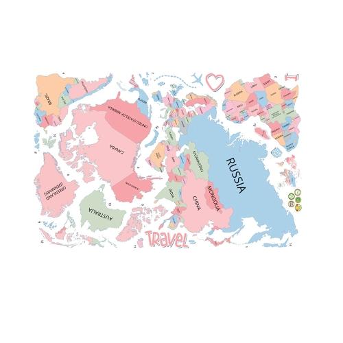 Etiqueta de parede Grande etiqueta de mapa do mundo colorido Educação Kids Room Países Decal Mural Art Home Decor