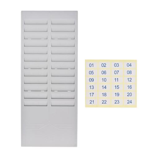 Stojak na karty z 24-szczelinowymi plastikowymi uchwytami naściennymi na biurowy rejestrator czasu pracy