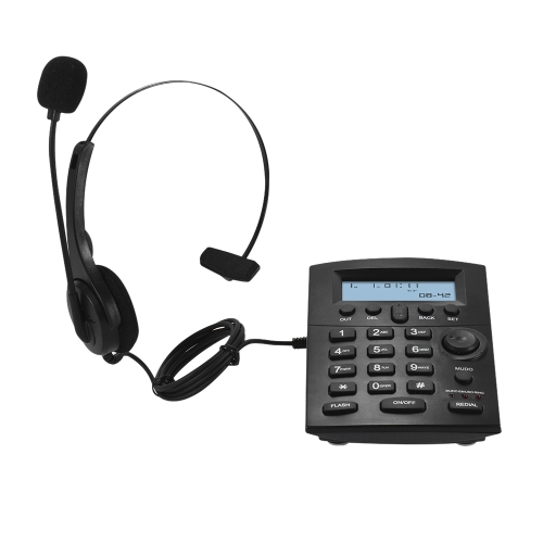 HST-8000 Inglês Telefone Set Telefone de Centro de Chamadas Com Fone de Ouvido Protegendo Flexível Microfone Display LCD Pré-dial de Chamada de Volta Mudo Funções de Rediscagem de Flash com Interface de Gravação