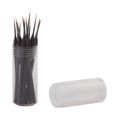 H & B Detail Paint Brush Set 12-teilige Miniatur-Nylon-Haarpinsel mit 1 Beutel und 1 Halter für feine Details Acryl / Aquarell / Gouache / Ölkunst