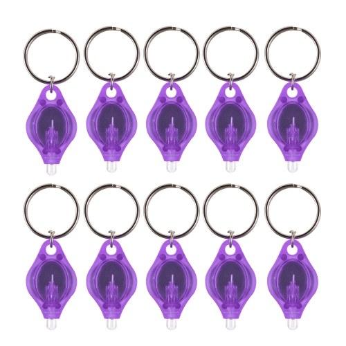 10Pcs Mini Portable UV LED Light Flashlight Keychain