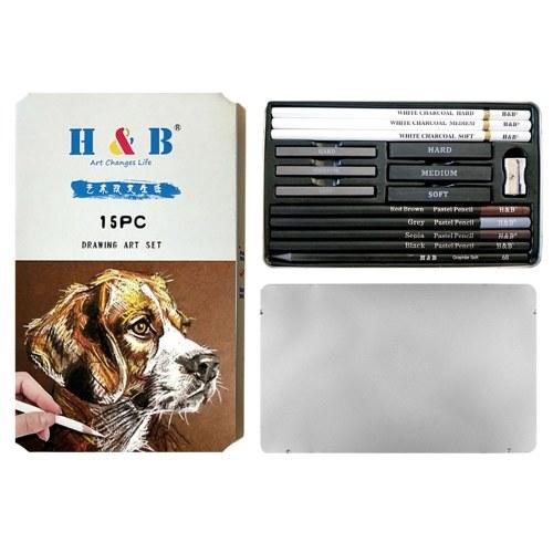H & B 15 Teile / satz Malutensilien Zeichnung Kit Weiß Holzkohle und Pastell Bleistifte Set Malwerkzeuge
