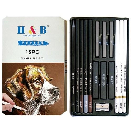 H&B 15Pz / Set Kit di disegno per forniture artistiche Carbone bianco e matite pastello Set strumenti per pittura