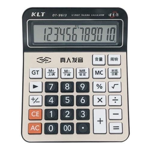 Офисный настольный калькулятор, 12-разрядный большой ЖК-дисплей, металл