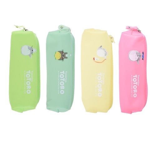 4pcs bonitos Jelly macias impermeáveis ​​Pen Pencil Caso Set Zipper Stationery Bags Pattern Gato bonito para estudantes School Girls