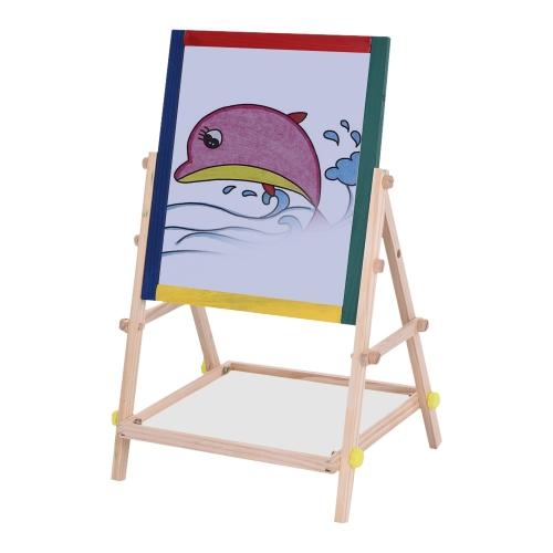 Aibecy Kids Wooden Art Easel Chalkboard White Drawing Board Dwustronna tablica edukacyjna z markerem Pen Chalks Blackboard Eraser