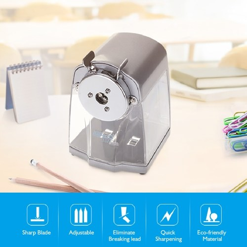 Manual Pencil Sharpener Handheld Operation Transparent Receptacle Helical Cutter Stationary for School Office Home( Silvery White)
