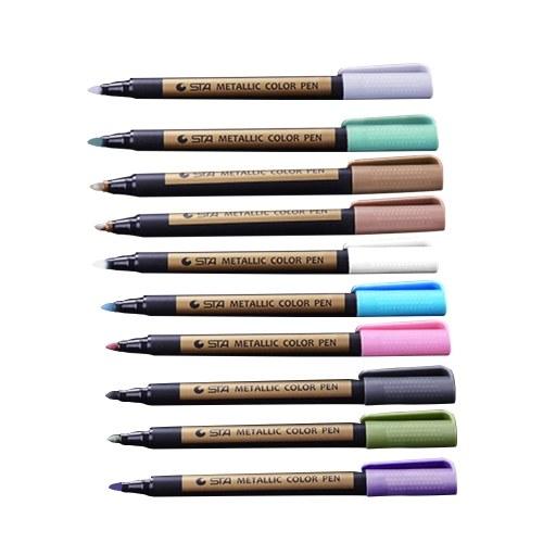 10 teile / satz Metallic Farbe Stift Marker Pens Lackstift für Keramik Malerei Fotoalbum Karte Machen DIY Handwerk Kunst Liefert