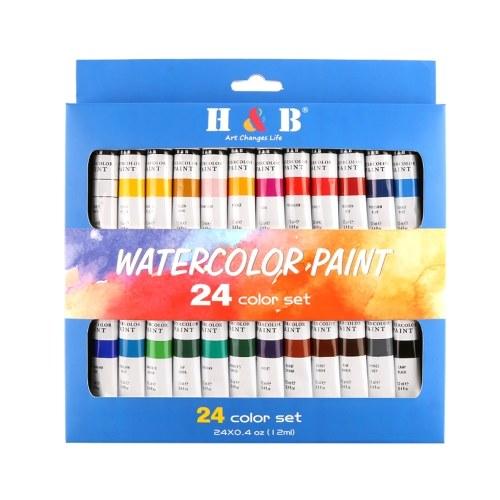 H & B 24 Farben Professionelle Aquarellfarbe