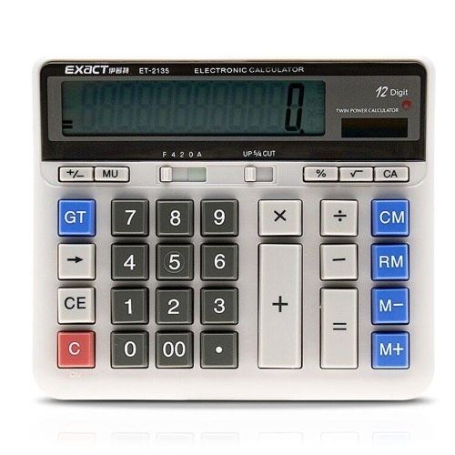 Calcolatore elettronico per computer di grandi dimensioni Contatore solare e alimentazione a batteria Display a 12 cifre Pulsante grande multifunzionale per calcoli scolastici in ufficio
