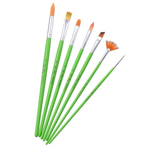 7pcs / set многоцелевой набор кистей для краски нейлоновые волосы зеленая деревянная ручка кисть
