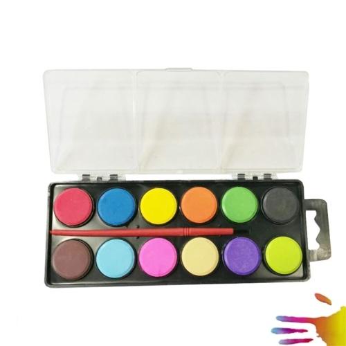 12 colori solidi pittura ad acquerello pigmento portatile disegno pittura set