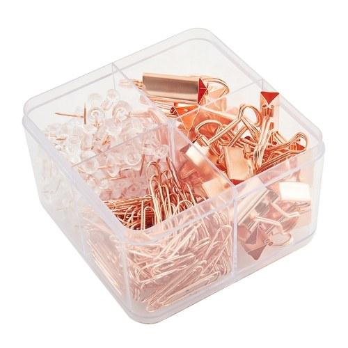 В штучной упаковке из розового золота, металлические переплеты, скрепки, скрепки, набор