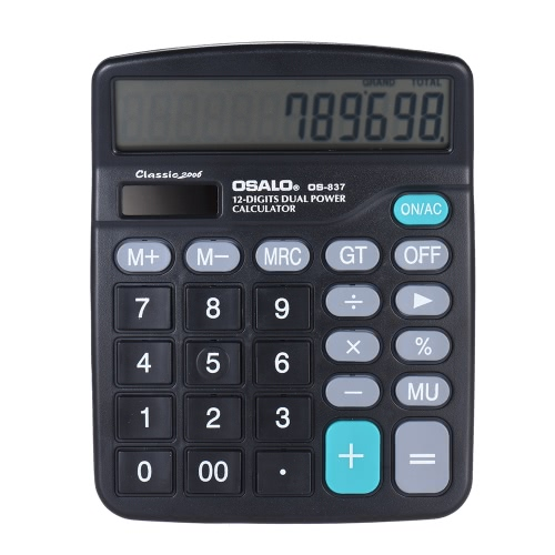 Electronic Calculator Counter Solar Battery Power 12 Digits Multi Functional Big Button Business Office